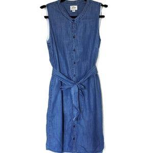 J. Crew Button Front Sleeveless Chambray Dress PM